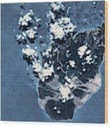 Satellite View Of Montserrat Island Wood Print
