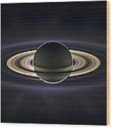 Saturn Wood Print by Adam Romanowicz
