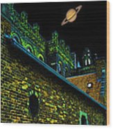 Saturn Over Pabst Brewery Fantasy Image Of Abandoned Home Of Blue Ribbob Beer From 1860  Wood Print