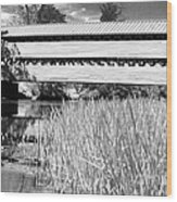 Saucks Bridge And Reeds Wood Print