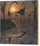 Sauropod And Duckbill Dinosaurs. Wood Print