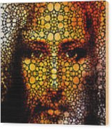 Savior - Stone Rock'd Jesus Art By Sharon Cummings Wood Print by Sharon Cummings