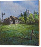 Sawtooth Mountain Homestead Wood Print