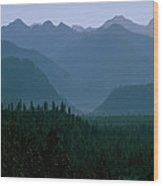 Sawtooth Mountains Silhouette Wood Print