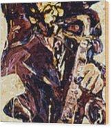 Sax Man One Wood Print