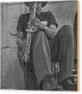 Sax Player In Chicago  Wood Print
