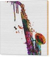 Saxophone 2 Wood Print