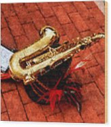 Saxophone Before The Parade Wood Print