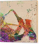 Saxophone  Wood Print by Mark Ashkenazi