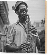 Saxophone Musician New Orleans Wood Print