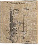 Saxophone Patent Design Illustration Wood Print