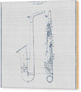 Saxophone Patent Drawing From 1899 - Blue Ink Wood Print