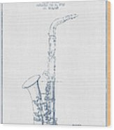 Saxophone Patent Drawing From 1937 - Blue Ink Wood Print