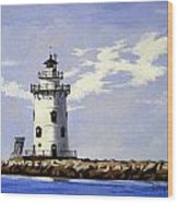 Saybrook Breakwater Lighthouse Old Saybrook Connecticut Wood Print