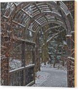 Garden Entrance During Winter Snow At Sayen Gardens Wood Print