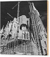 scaffolding and cranes above Sagrada Familia Barcelona Catalonia Spain Wood Print