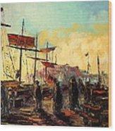 Scarborough Harbour Loading Wood Print