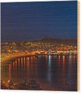 Scarborough Night Lights At Sunrise Wood Print