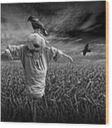 Scarecrow And Black Crows Over A Cornfield Wood Print