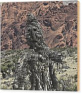 Scarecrow Cactus Wood Print