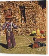 Scarecrows Play Too Wood Print