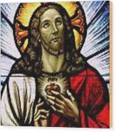 Scared Heart Of Jesus Wood Print