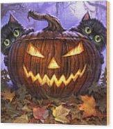 Scaredy Cats Wood Print by Jeff Haynie