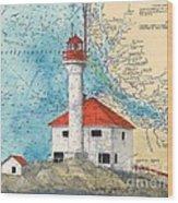 Scarlett Pt Lighthouse Bc Canada Chart Art Wood Print