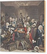 Scene In A Gaming House, Plate Vi Wood Print by William Hogarth