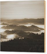 Scenery With Silhouettes Wood Print