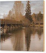Scenic Golden Wooden Bridge Tree Reflection On The Deschutes River Wood Print