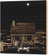 Scenic View At Night Wood Print by Leslie Crotty