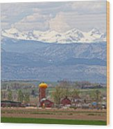 Scenic View Looking Over Anderson Farms Up To Rockies Wood Print