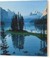 Scenic View Of Maligne Lake In Jasper Wood Print