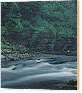 Scenic View Of Waterfall, Teesdale Wood Print