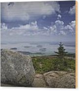Scenic View With Boulder On Top Of Cadilac Mountain Wood Print