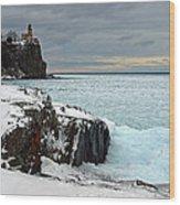 Scenic Winter Lighthouse Wood Print