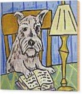 Schnauzer Reading A Book Wood Print by Jay  Schmetz