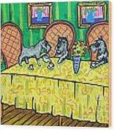 Schnauzers Tea Party Wood Print by Jay  Schmetz