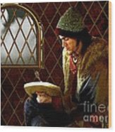 Scholar By Moonlight Wood Print