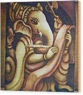 Scholar Ganesh Wood Print