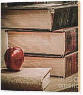 School Books Wood Print