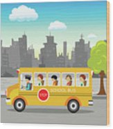 School Bus On Its Way Wood Print