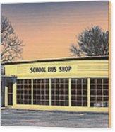School Bus Repair Shop Wood Print