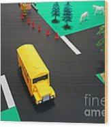 School Bus School Wood Print