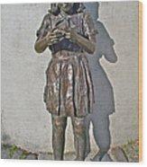 School Girl Sculpture In Saint John's-nl Wood Print