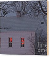 School House Sunset Wood Print