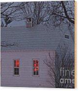 School House Sunset Wood Print by Cheryl Baxter