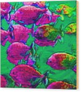 School Of Piranha V2 - Square Wood Print