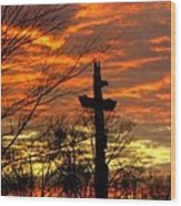 School Totem Pole Sunrise Wood Print